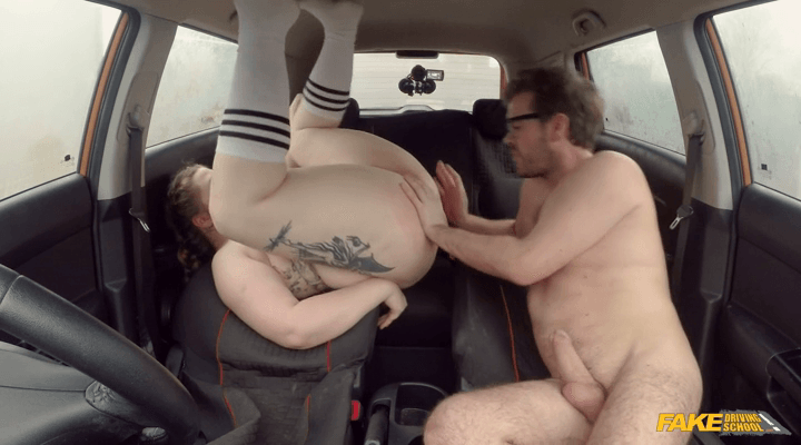 FakeDrivingSchool : Cute BBW crashes the car for REAL –  Estella Bathory